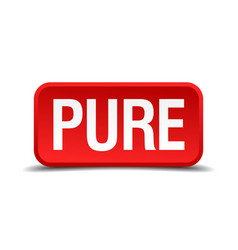Pure red 3d square button isolated on white vector
