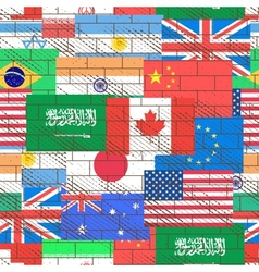 Seamless background of flags vector