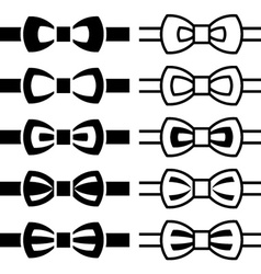 Bow tie black white symbols vector