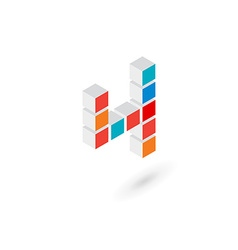 3d cube number 4 logo icon design template vector