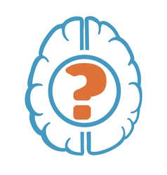Question mark in human brain vector