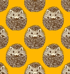 Sketch cute hedgehog in vintage style vector