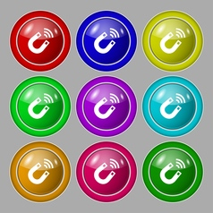 Magnet icon sign symbol on nine round colourful vector