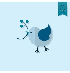 Bird with viburnum vector