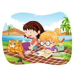 Girls reading books by the lake vector