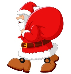 Happy santa with sack vector