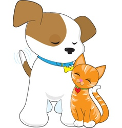 Cute puppy and cat vector