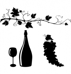 Grape and wine silhouettes set vector