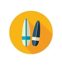Surfboard flat icon summer vacation vector