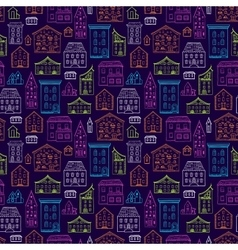 Houses pattern lineart dark big vector