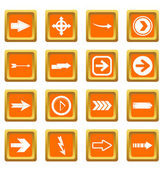 arrow icons set orange vector image vector image