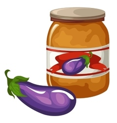 Bank with eggplant caviar on white background vector