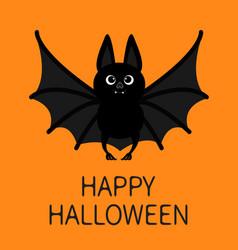 Bat standing flying happy halloween cute cartoon vector