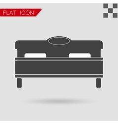 Black bed icon flat style with red vector