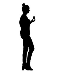 black silhouette woman holding ice cream in hand vector image vector image