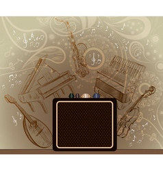 Brown Background with Musical Instruments vector image vector image