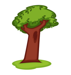 Cartoon green tree with massive trunk on grass vector