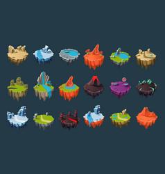 Cartoon isometric islands with volcanoes lakes vector