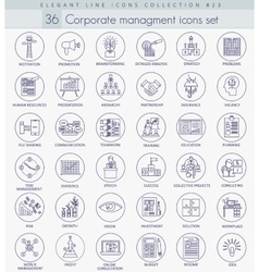 Corporate managment outline icon set vector image