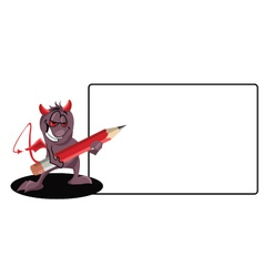 Demon-with-a-pencil vector image vector image