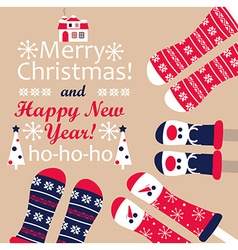 Family feet in Christmas socks vector image vector image