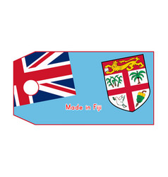 Fiji flag on price tag with word made in fiji vector