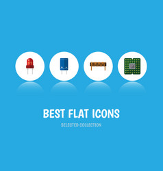 Flat icon device set of unit bobbin transistor vector