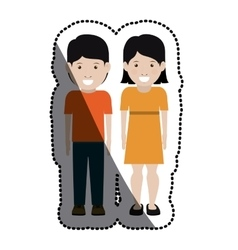 Girl and boy cartoon design vector