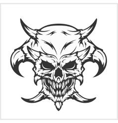 Horned skull - isolated on white vector