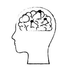 human face silhouette with brain inside in black vector image