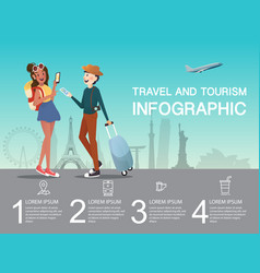 Man and girl planning at airport for traveling vector