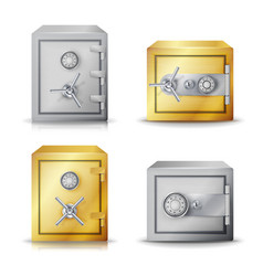 Metal safe realistic set realistic steel vector