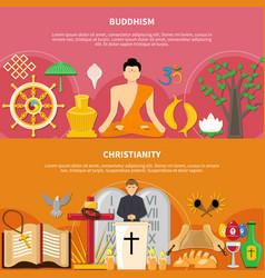 Religions flat flyer set vector