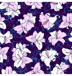 Seamless pattern with lilies vector image vector image