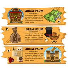 set banners on the theme of the wild west design vector image vector image