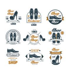 Shoe shop vintage logo design set premium vector