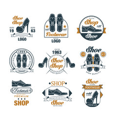 shoe shop vintage logo design set premium vector image