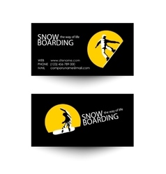 Snowboarding business card template vector image vector image