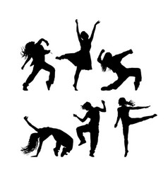 various women dance style silhouttee vector image vector image