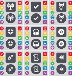 Wi-fi tick bow dropbox headphones disk gear vector