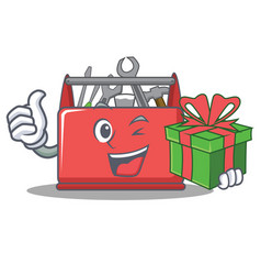 With gift tool box character cartoon vector
