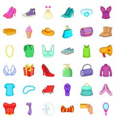 Woman dress icons set cartoon style vector