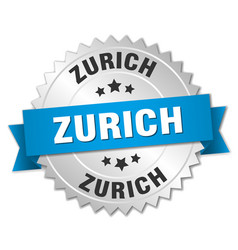 Zurich round silver badge with blue ribbon vector