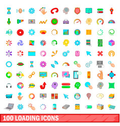 100 loading icons set cartoon style vector image
