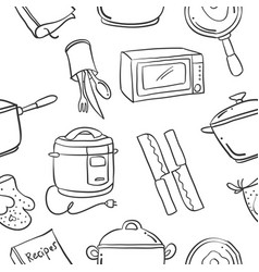 Collection stock of kitchen set element doodles vector