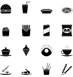 Fast Food Icons and Symbols Silhouette Set vector image