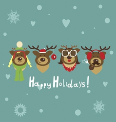 Holiday post card with deer family vector
