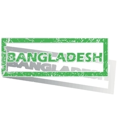 Green outlined bangladesh stamp vector