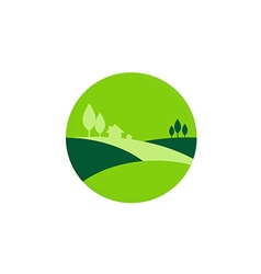 Green landscape nature village logo vector