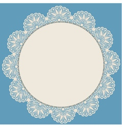 Light beige round lacy frame on blue background vector